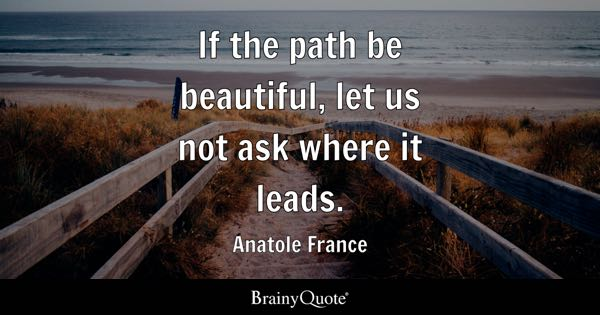 If the path be beautiful, let us not ask where it leads. - Anatole France