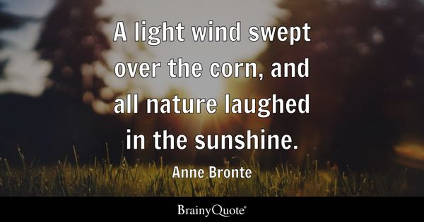 A light wind swept over the corn, and all nature laughed in the sunshine. - Anne Bronte