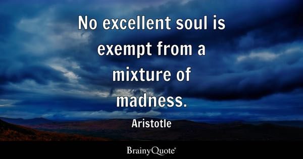 No excellent soul is exempt from a mixture of madness. - Aristotle