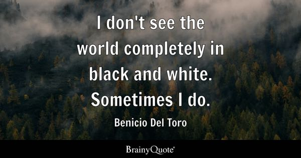 I don't see the world completely in black and white. Sometimes I do. - Benicio Del Toro