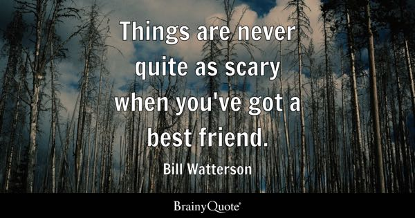 Things are never quite as scary when you've got a best friend. - Bill Watterson