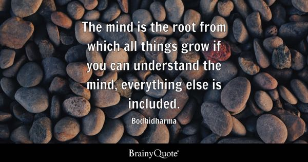 The mind is the root from which all things grow if you can understand the mind, everything else is included. - Bodhidharma