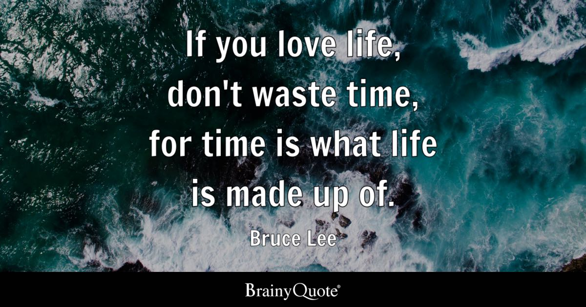Bruce Lee If You Love Life Dont Waste Time For Time