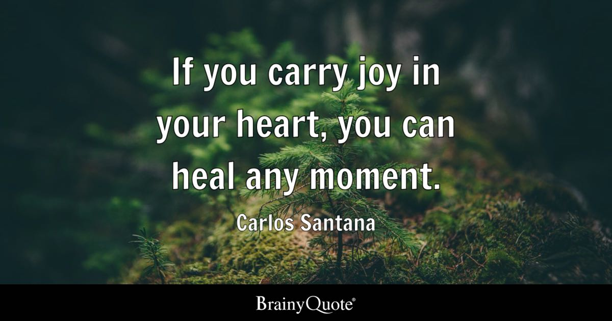 If You Carry Joy In Your Heart You Can Heal Any Moment