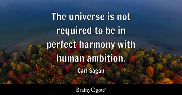 The universe is not required to be in perfect harmony with human ambition. - Carl Sagan