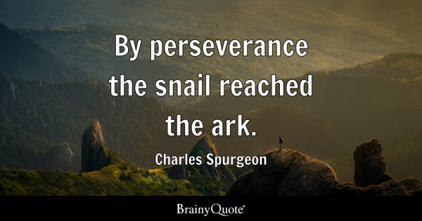 By perseverance the snail reached the ark. - Charles Spurgeon