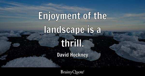 Enjoyment of the landscape is a thrill. - David Hockney