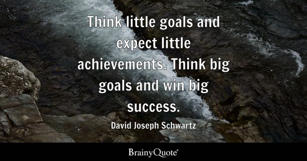 Think little goals and expect little achievements. Think big goals and win big success. - David Joseph Schwartz