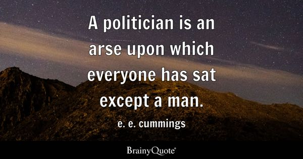 A politician is an arse upon which everyone has sat except a man. - e. e. cummings