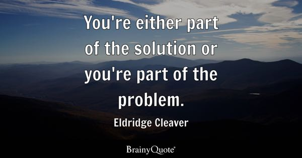 Eldridge Cleaver Youre Either Part Of The Solution Or