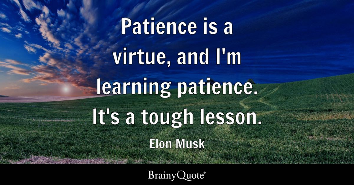 Elon Musk Patience Is A Virtue And Im Learning Patience
