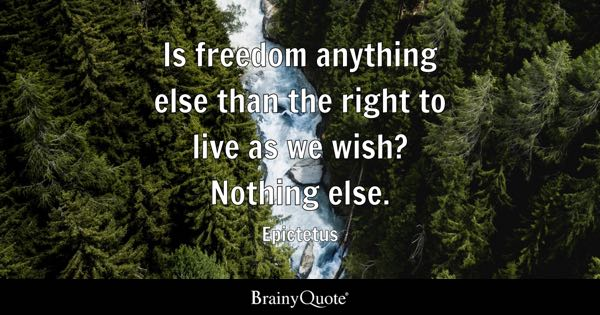 Is freedom anything else than the right to live as we wish? Nothing else. - Epictetus