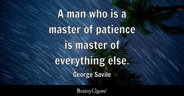 A man who is a master of patience is master of everything else. - George Savile