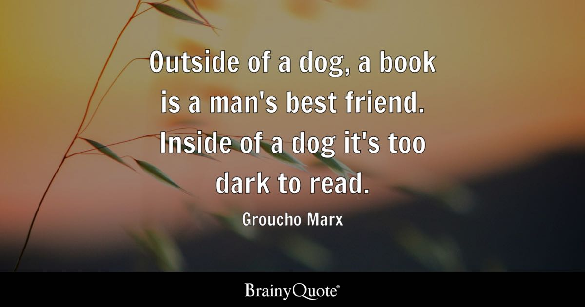 quote outside of a dog a book is a man s best friend inside of a