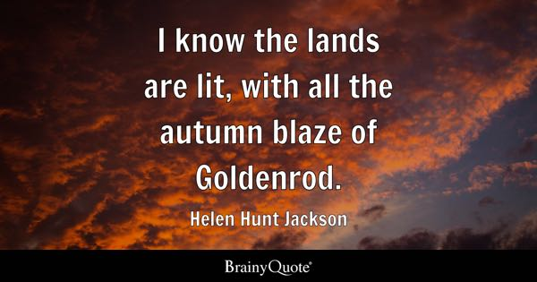 I know the lands are lit, with all the autumn blaze of Goldenrod. - Helen Hunt Jackson