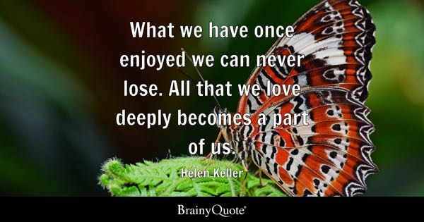 What we have once enjoyed we can never lose. All that we love deeply becomes a part of us. - Helen Keller