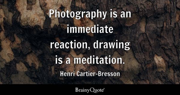 Photography is an immediate reaction, drawing is a meditation. - Henri Cartier-Bresson