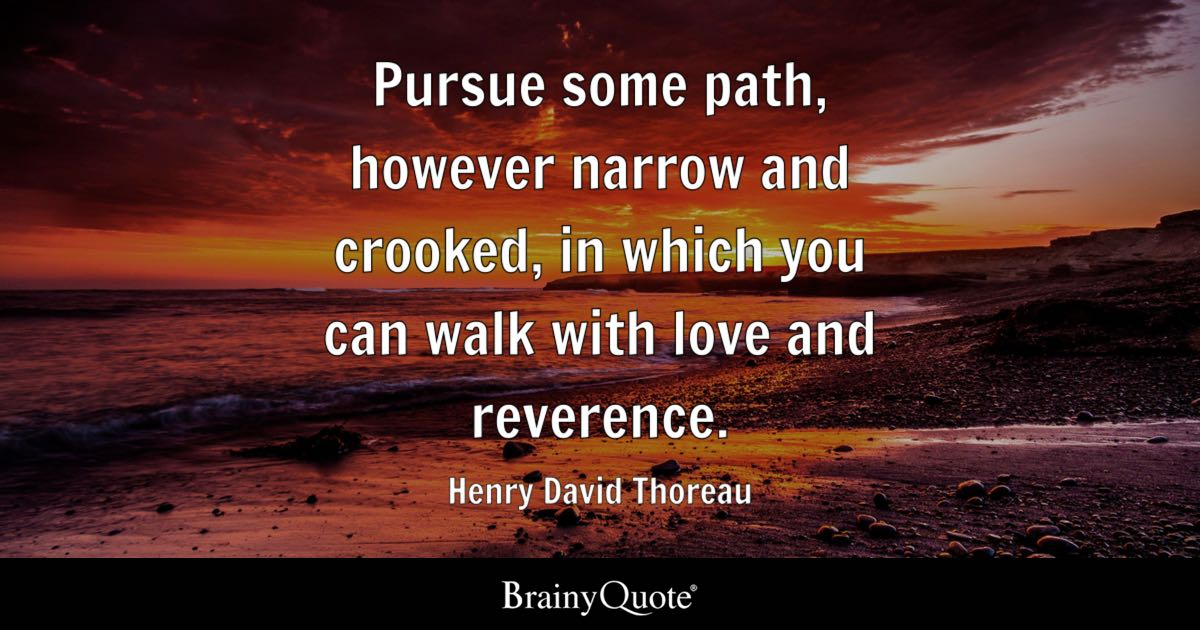 Pursue some path, however narrow and crooked, in which you can walk with love and reverence. - Henry David Thoreau