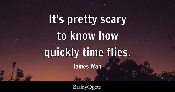 It's pretty scary to know how quickly time flies. - James Wan
