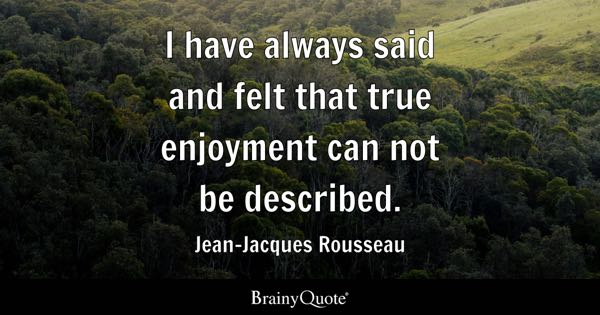 I have always said and felt that true enjoyment can not be described. - Jean-Jacques Rousseau
