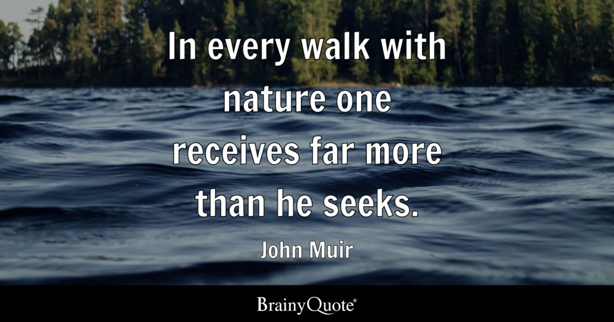 In Every Walk With Nature One Receives Far More