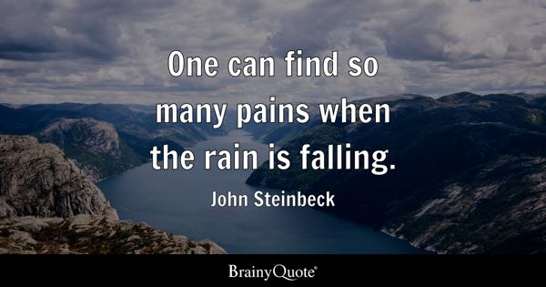 One can find so many pains when the rain is falling. - John Steinbeck