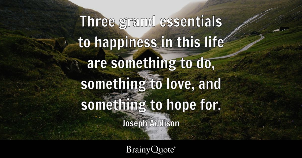 Love And Hope Quotes Beauteous Three Grand Essentials To Happiness In This Life Are Something To Do