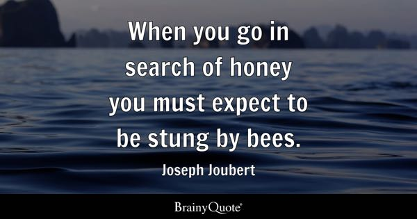 When you go in search of honey you must expect to be stung by bees. - Joseph Joubert