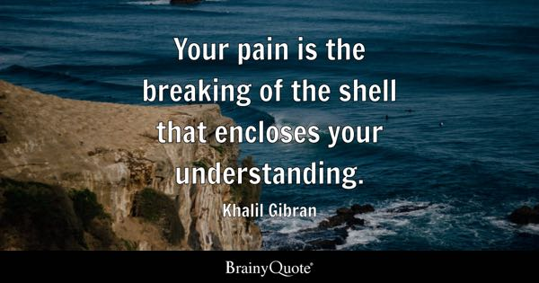 Your pain is the breaking of the shell that encloses your understanding. - Khalil Gibran