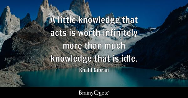 A little knowledge that acts is worth infinitely more than much knowledge that is idle. - Khalil Gibran