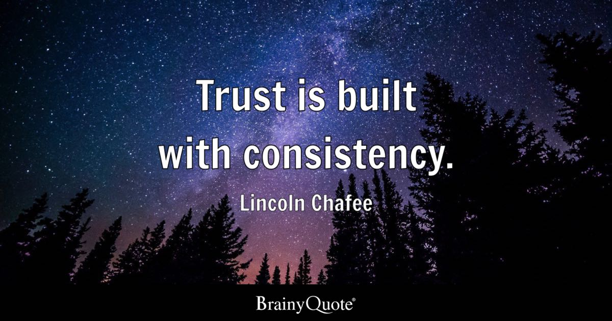 Trust Quotes Amazing Trust Is Built With Consistency Lincoln Chafee  Brainyquote