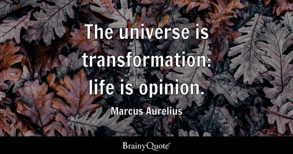 The universe is transformation: life is opinion. - Marcus Aurelius