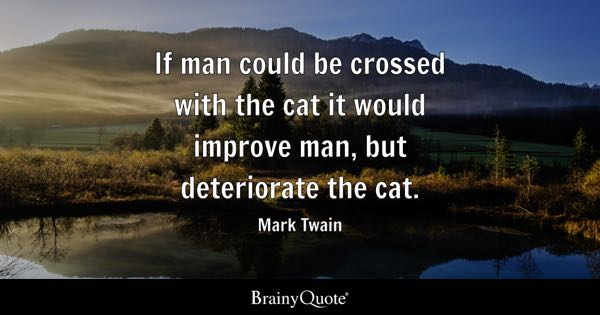 If man could be crossed with the cat it would improve man, but deteriorate the cat. - Mark Twain