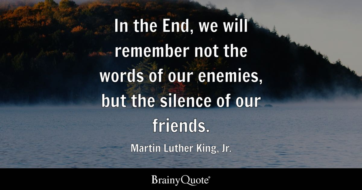 ... Quotes About Martin Luther King Jr · In The End, We Will Remember Not  The Words Of Our Enemies, But The