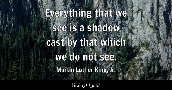 Everything that we see is a shadow cast by that which we do not see. - Martin Luther King, Jr.