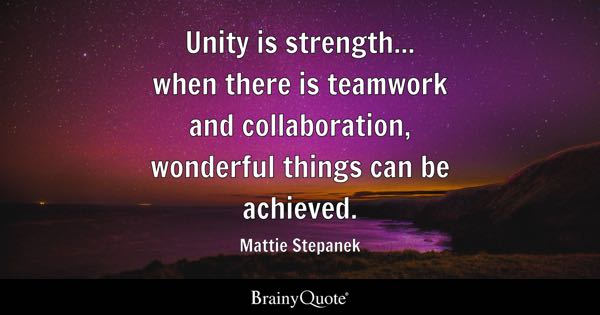 Unity is strength... when there is teamwork and collaboration, wonderful things can be achieved. - Mattie Stepanek