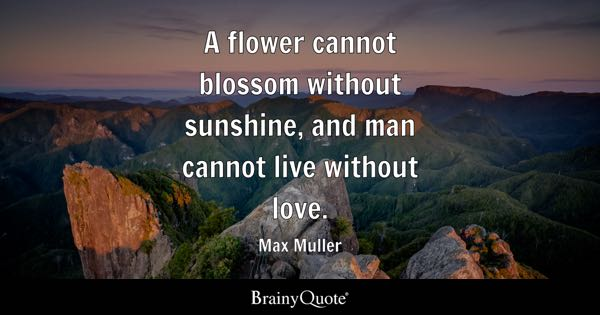 Merveilleux A Flower Cannot Blossom Without Sunshine, And Man Cannot Live Without Love.    Max