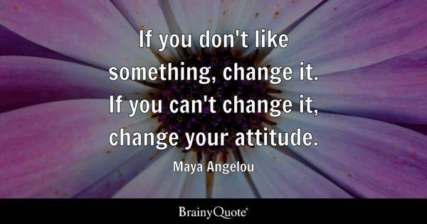 If you don't like something, change it. If you can't change it, change your attitude. - Maya Angelou