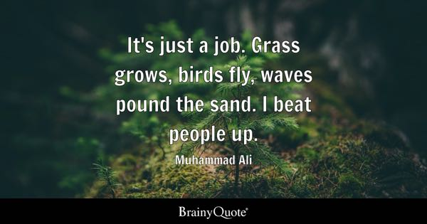 It's just a job. Grass grows, birds fly, waves pound the sand. I beat people up. - Muhammad Ali