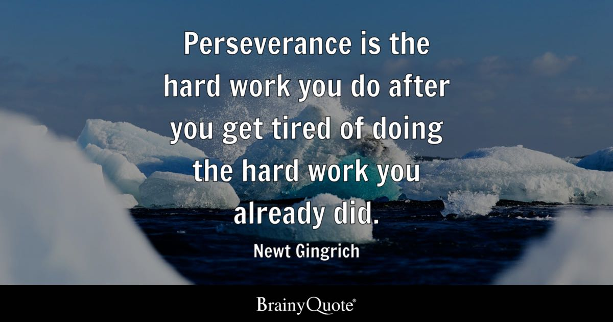 Newt Gingrich Perseverance Is The Hard Work You Do After You
