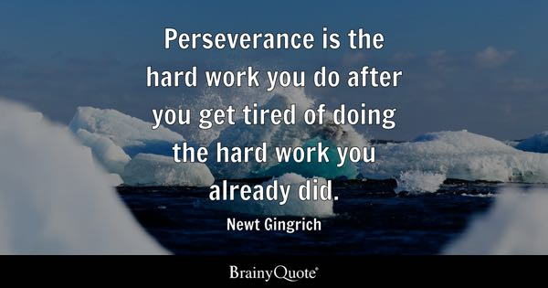 Perseverance is the hard work you do after you get tired of doing the hard work you already did. - Newt Gingrich