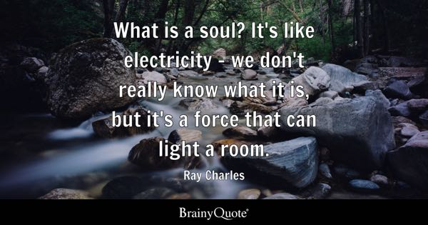 What is a soul? It's like electricity - we don't really know what it is, but it's a force that can light a room. - Ray Charles