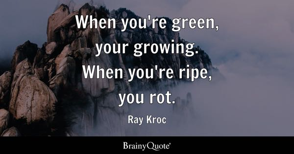 When you're green, your growing. When you're ripe, you rot. - Ray Kroc