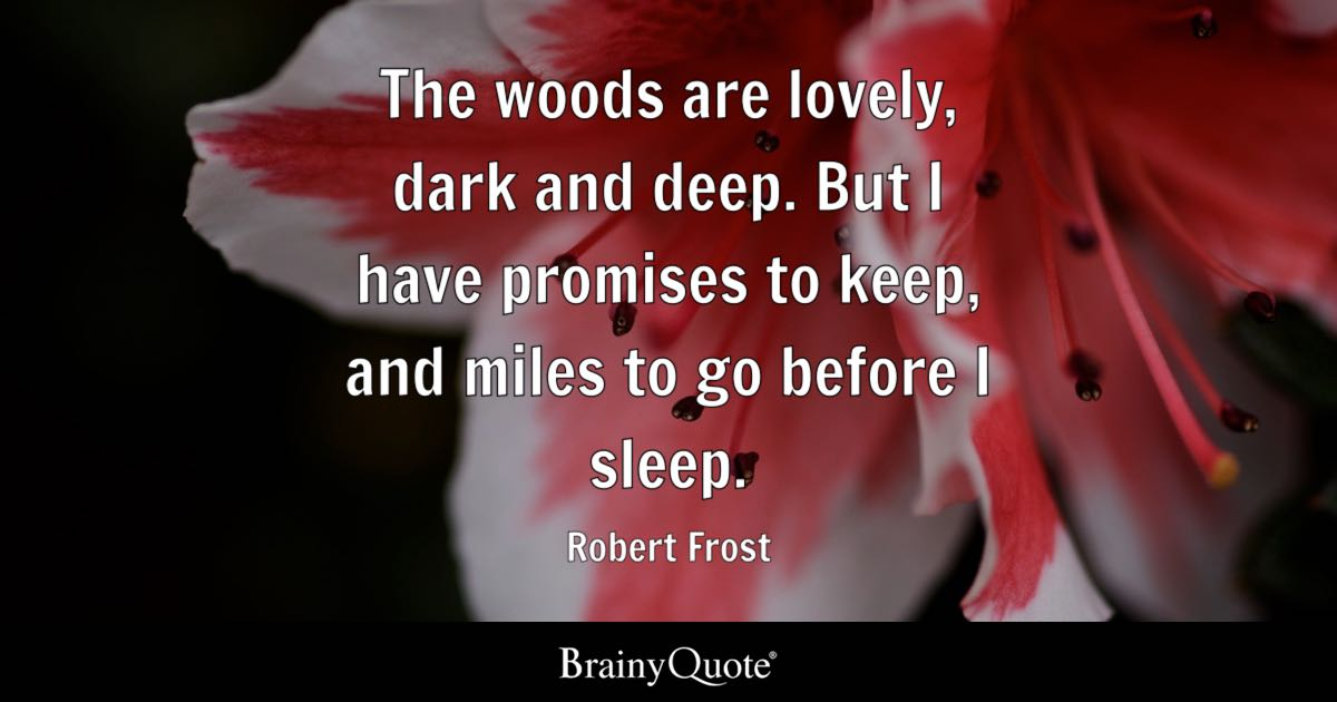 Robert Frost The Woods Are Lovely Dark And Deep But I Have
