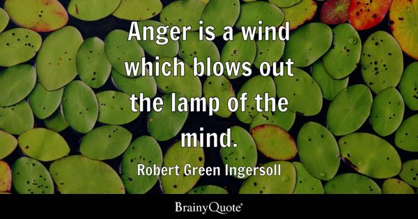 Anger is a wind which blows out the lamp of the mind. - Robert Green Ingersoll