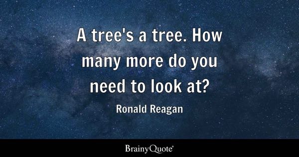 A tree's a tree. How many more do you need to look at? - Ronald Reagan