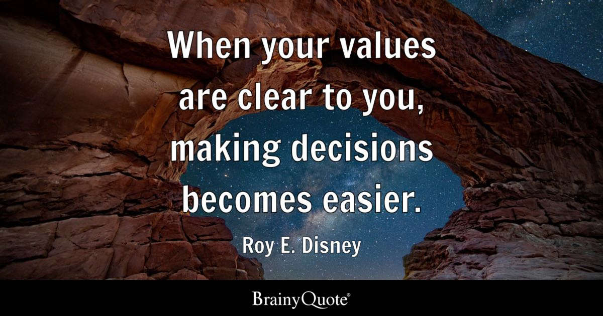 When Your Values Are Clear To You, Making Decisions