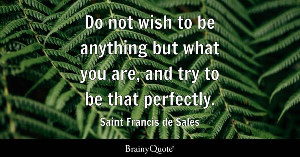 Do not wish to be anything but what you are, and try to be that perfectly. - Saint Francis de Sales