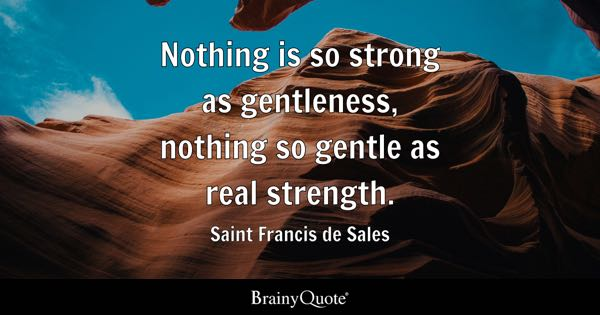 Nothing is so strong as gentleness, nothing so gentle as real strength. - Saint Francis de Sales