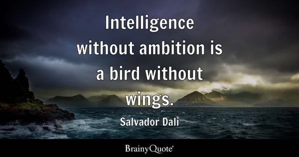 Intelligence without ambition is a bird without wings. - Salvador Dali